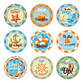 Vector set of cute bright summer badges with slogans. Sea star, cocktail, diving set, anchor, yacht, beacon, handwheel, surf.