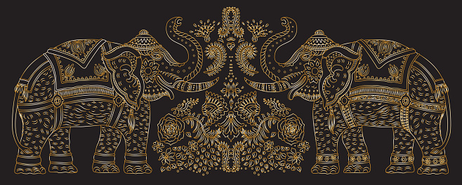 Vector set decorative fantasy ornate Indian elephant line art silhouette with tropical leaves and flowers. Golden contour thin line, ethnic ornaments on a black background. T-shirt print. Batik paint, brochure cover