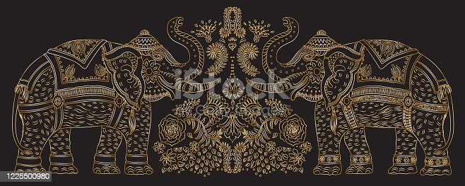 istock Vector set decorative fantasy ornate Indian elephant line art silhouette with tropical leaves and flowers. Golden contour thin line, ethnic ornaments on a black background. T-shirt print. Batik paint, brochure cover 1225500980