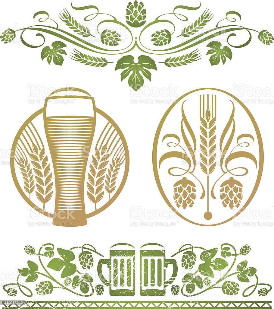 Vector set - decorative stylized hop and beer vector art illustration