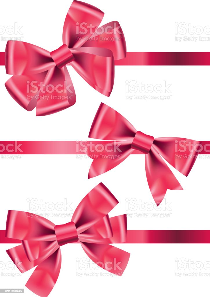 Vector set different types of pink satin ribbons with bows vector art illustration