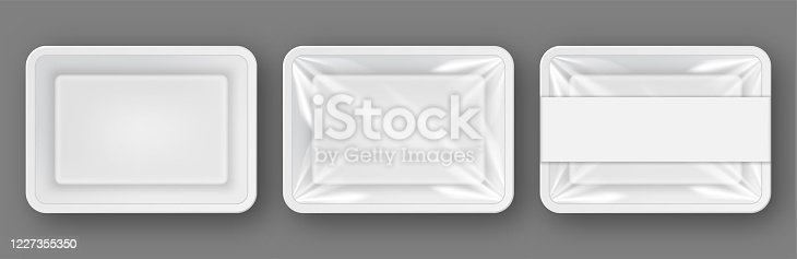 Vector set empty white plastic food containers