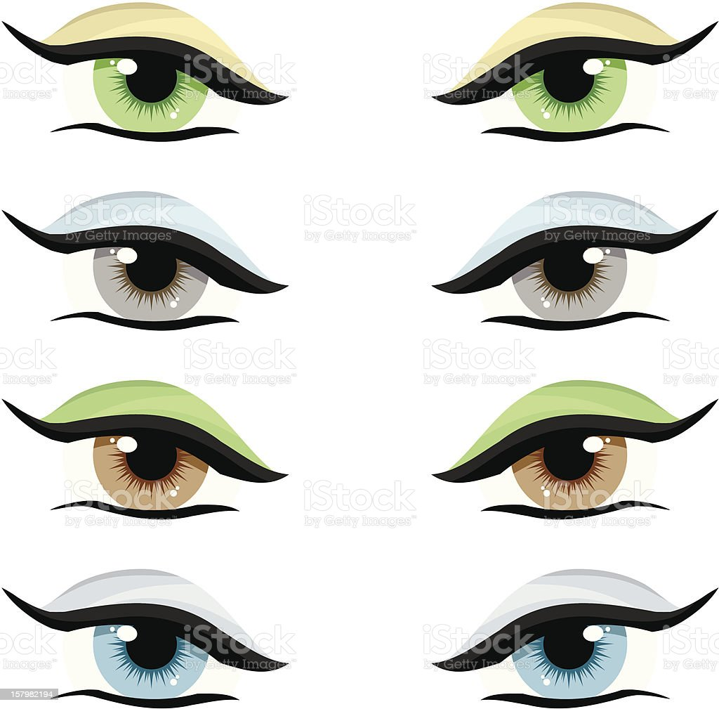 Vector set. Eyes of different colors