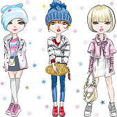 Vector SET of beautiful fashion hipster girl in winter clothes, sneakers, jacket and hat with bag