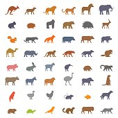 Vector set figures of farm and wild animals