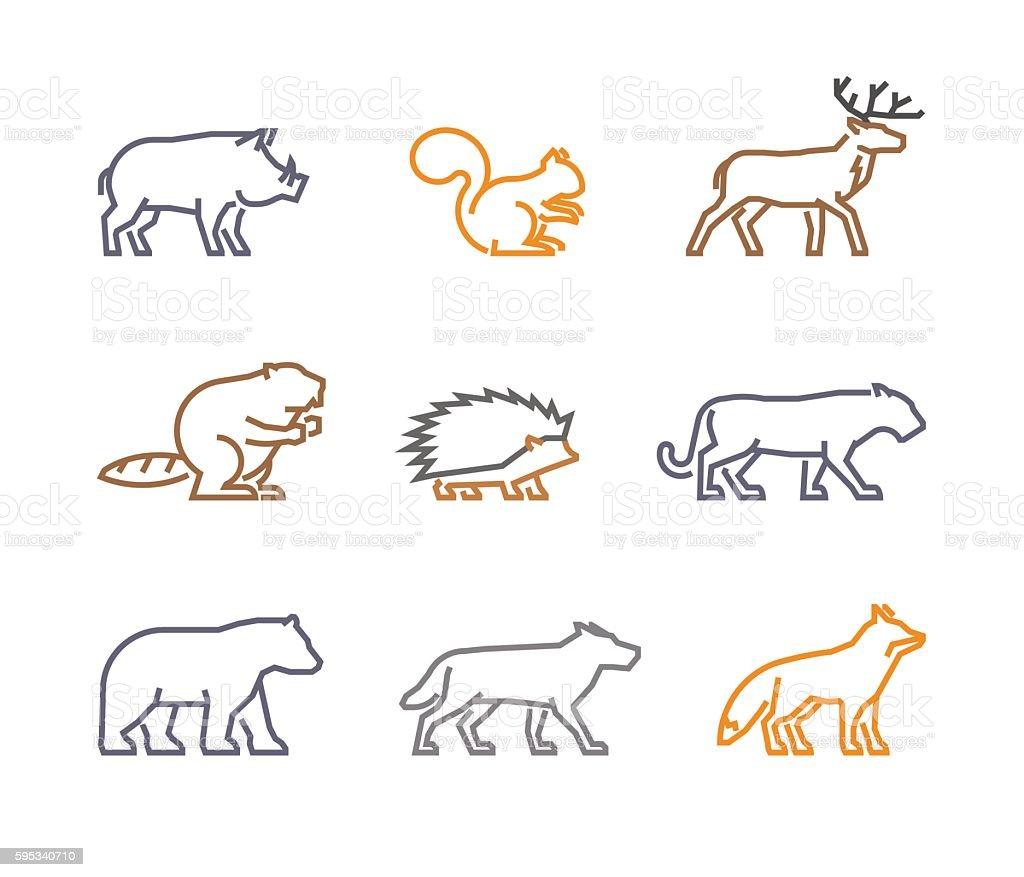 Vector set figures of wild animals vector art illustration