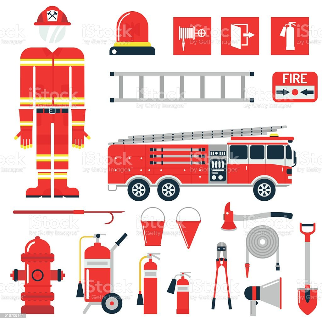Vector Set Firefighter Fire safety Flat Icons and Symbols vector art illustration