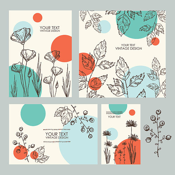 vector set: floral backgrounds. hand drawn - get well soon stock illustrations, clip art, cartoons, & icons
