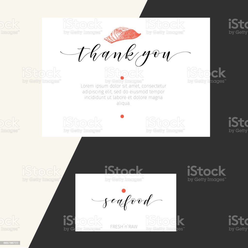 Vector Set For Seafood Restaurant Branding Banner Thank You Business ...