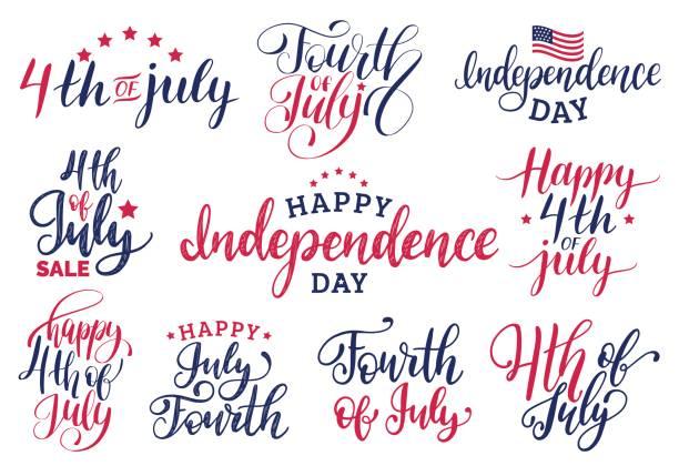 向量組的七月四日手刻字賀卡等題字。快樂的獨立日書法。 - independence day 幅插畫檔、美工圖案、卡通及圖標