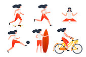 Vector set of girls in different summer activities - skate, running, yoga, football, surfing, cycling.