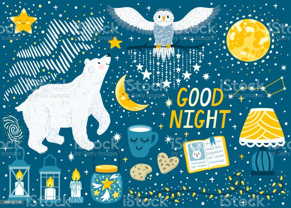 Vector set \'Good night\' with polar bear, snowy owl, moon, stars,...
