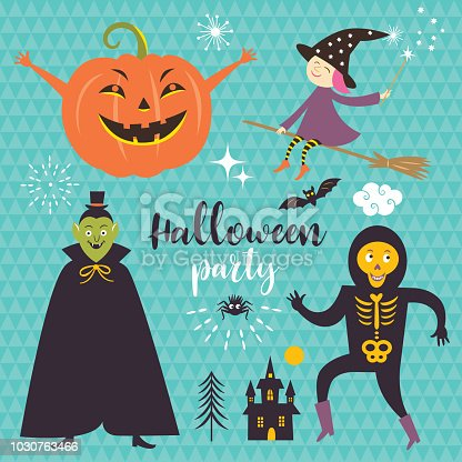 Vector set Halloween design elements for flyer or invitation template for Halloween party