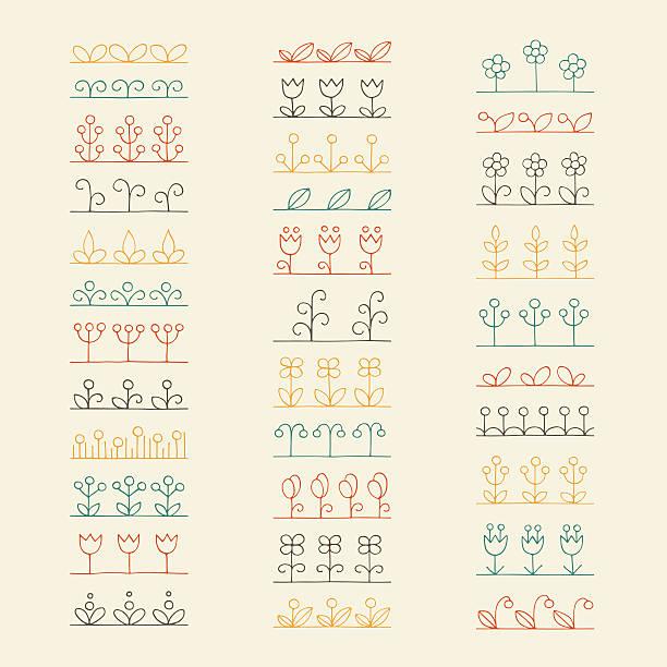 bildbanksillustrationer, clip art samt tecknat material och ikoner med vector set hand drawn pattern floral brushes. herbal design elements - amaryllis