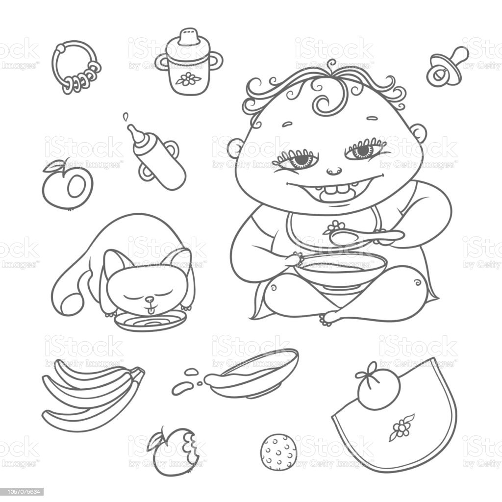 Vector set happy child and kitten eat. Chubby curly kid eating porridge and cat drinking milk or water. Flat black color sketch contour illustration apples, bananas, mush and other baby food. vector art illustration