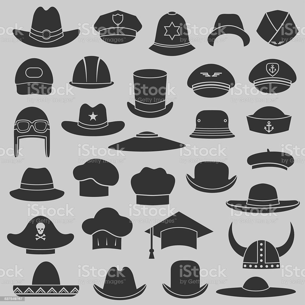 vector set hat and cap vector art illustration