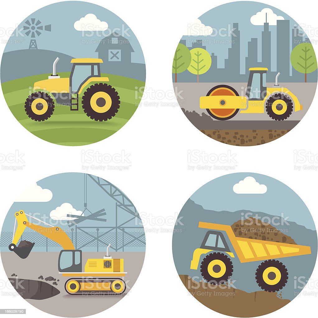 Vector Set, heavy machines scenes royalty-free vector set heavy machines scenes stock vector art & more images of agricultural machinery