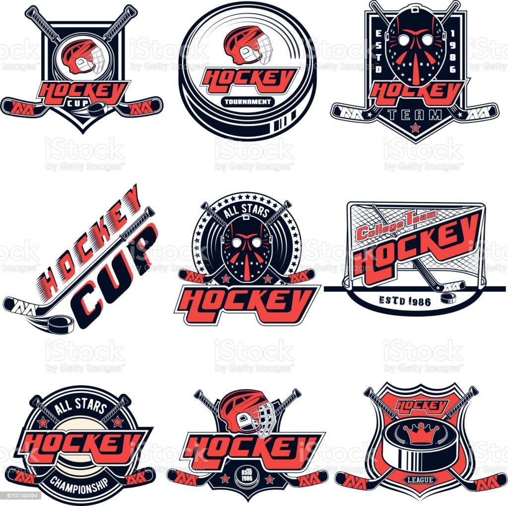 Vector set hockey diseños de equipo deportivo, diseño, web, impresión sobre fondo blanco - ilustración de arte vectorial