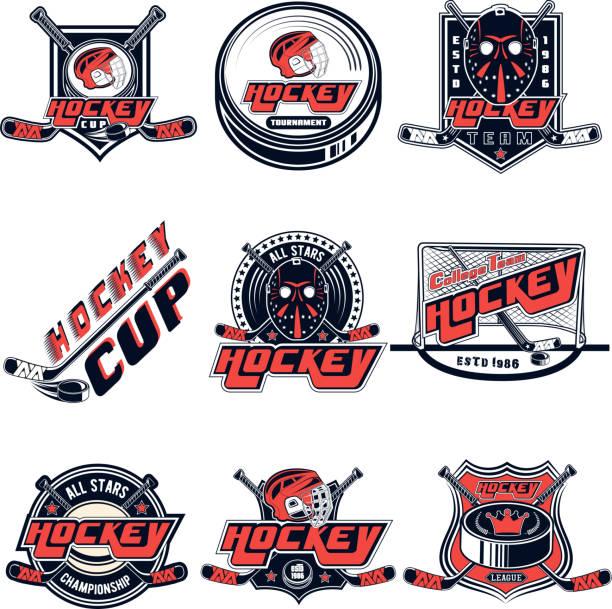 vektor-set eishockey designs für sport-team, design, web, print auf weißem hintergrund - hockey stock-grafiken, -clipart, -cartoons und -symbole