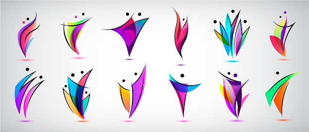 Vector set human body , people shapes, linear colorful stylezid figures. Use for fitness, wellness, sport competitions, other activities identity. Healthy lifestyle, dancing icons