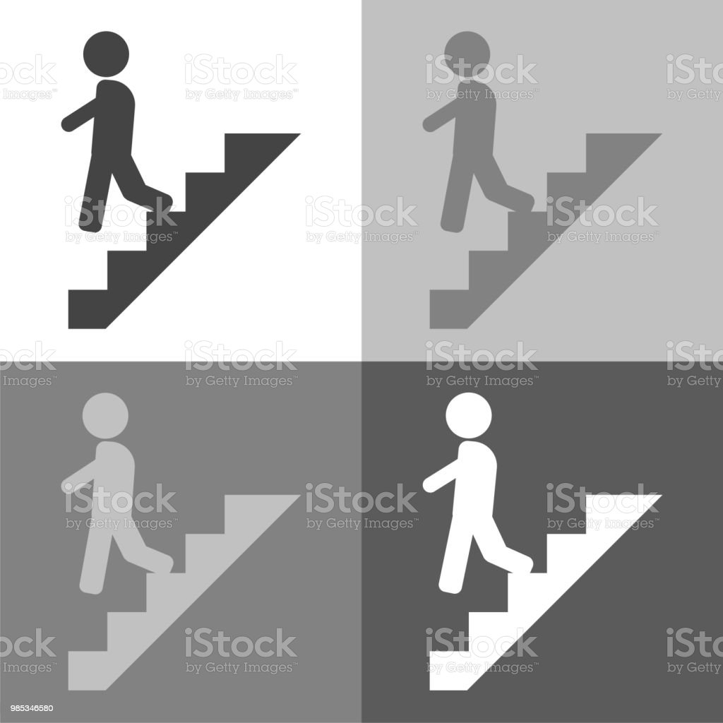 Vector set  icon of a man goes down the stairs, on the career ladder on white-grey-black color. vector art illustration