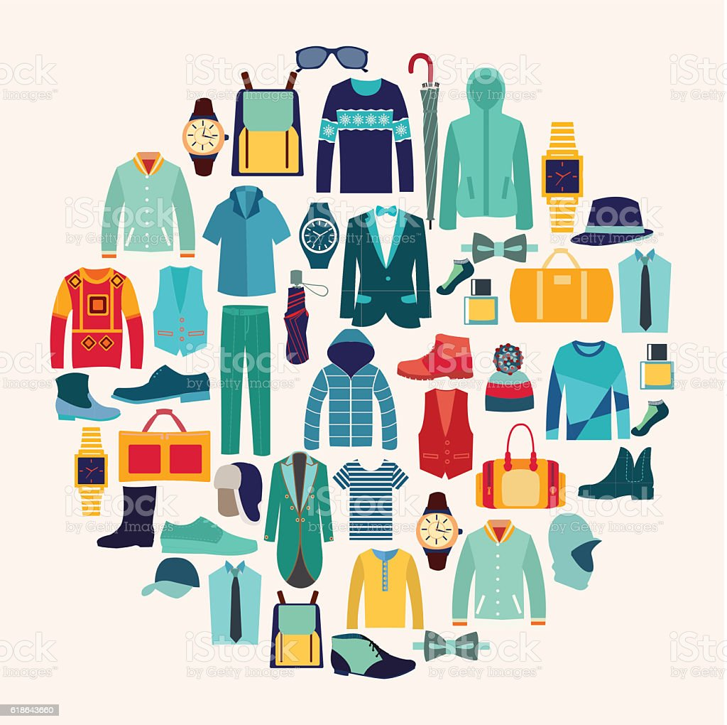 Vector set icon of Fashion collection of man wardrobe. – Vektorgrafik
