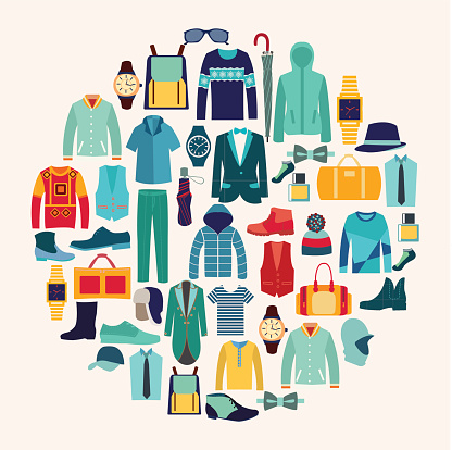 Vector set icon of Fashion collection of man wardrobe. vector art illustration