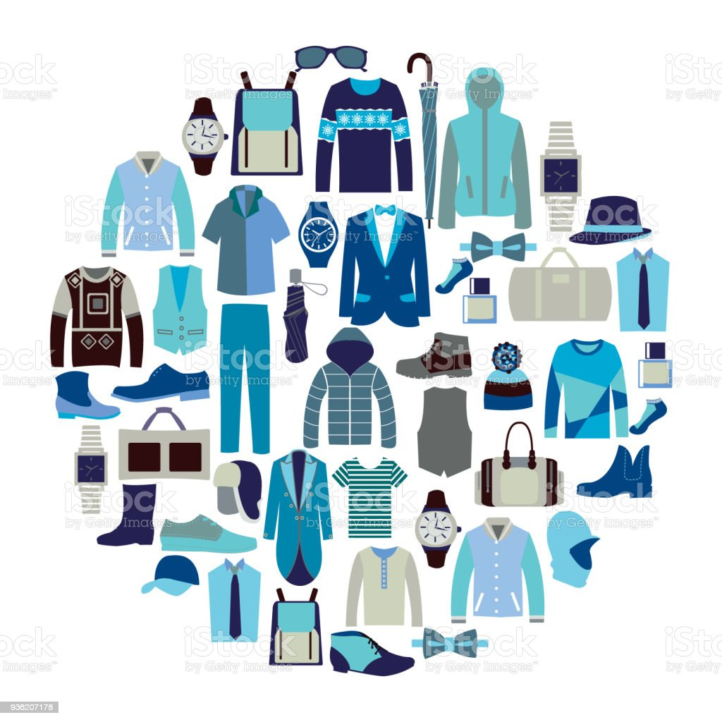 Vector set icon of Fashion collection of man wardrobe vector art illustration