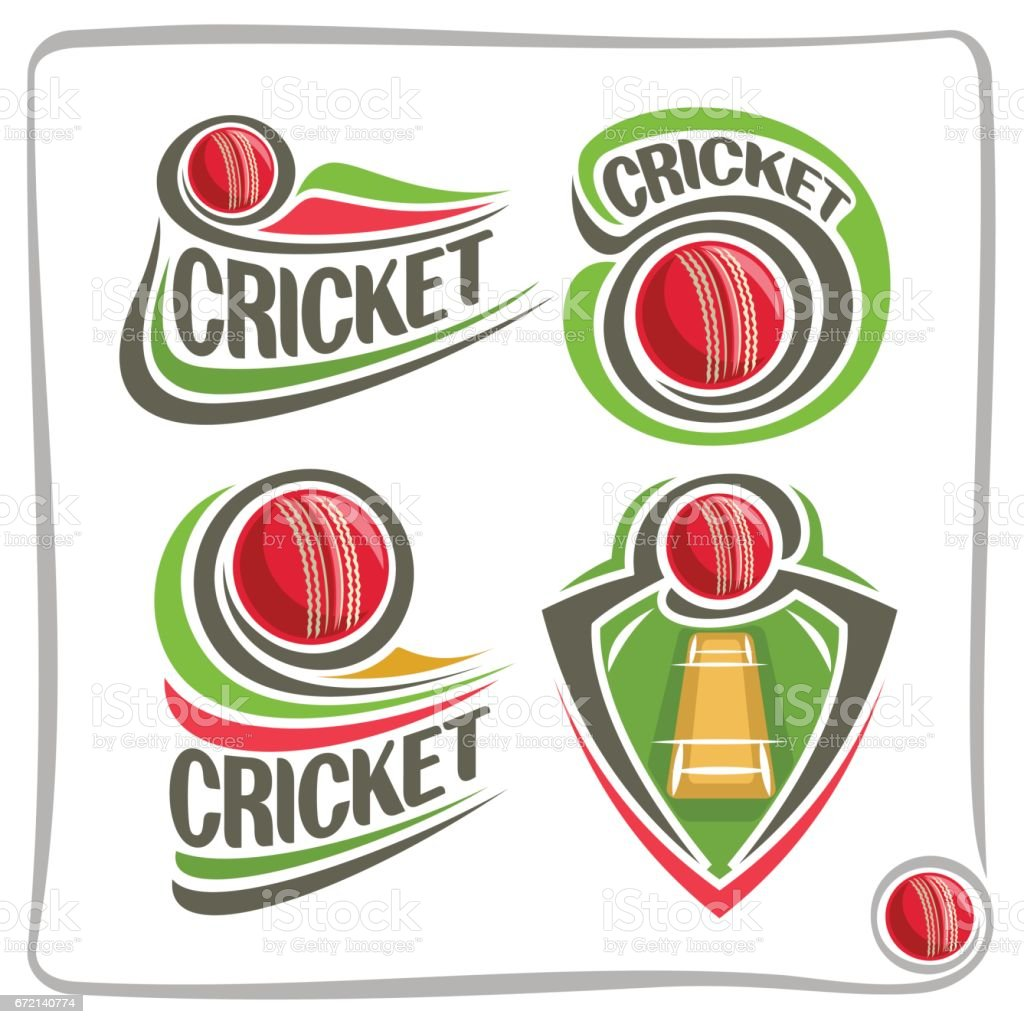 Vector set icons for Cricket game vector art illustration