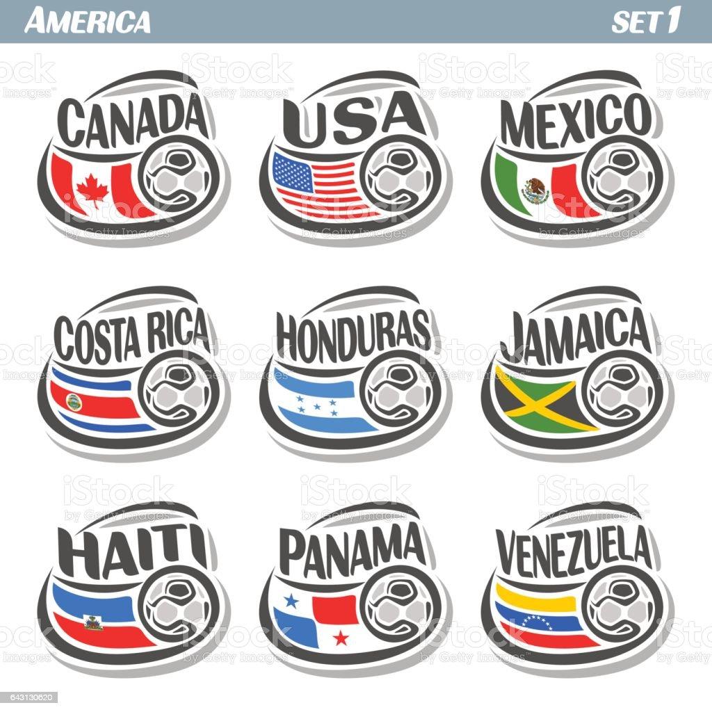Vector set ícones das bandeiras americanas equipas nacionais com bola de futebol - ilustração de arte em vetor