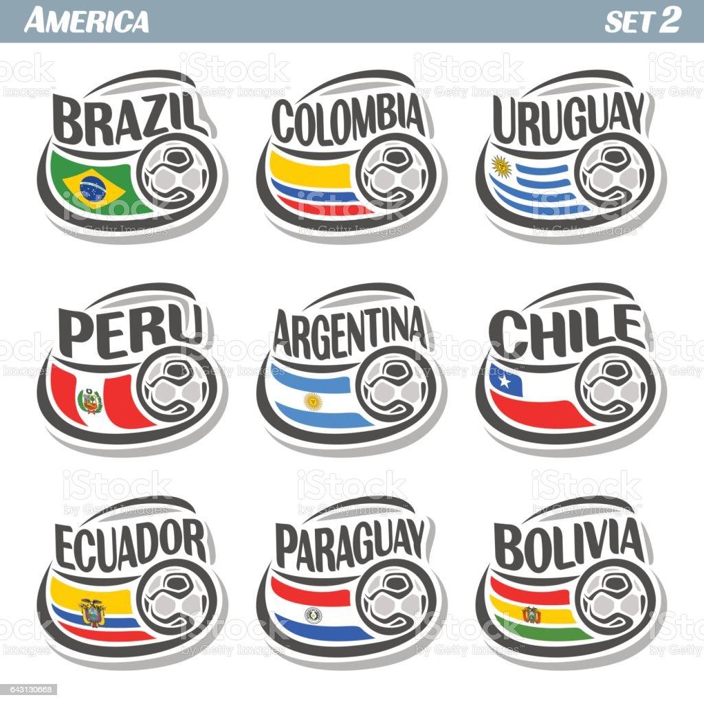 Vector conjunto de iconos de banderas equipos nacionales americanos con balón de fútbol - ilustración de arte vectorial