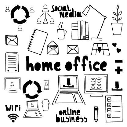 Vector set illustration. Home office concept.