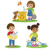 Vector Set Illustrations Kids Picking Up Plastic Bottles Into Garbage Bags. Children Cleaning Environment From Trash. Kids Collect Rubbish For Recycling. Eco Education Vector Illustration. Boy And Girl Volunteers.