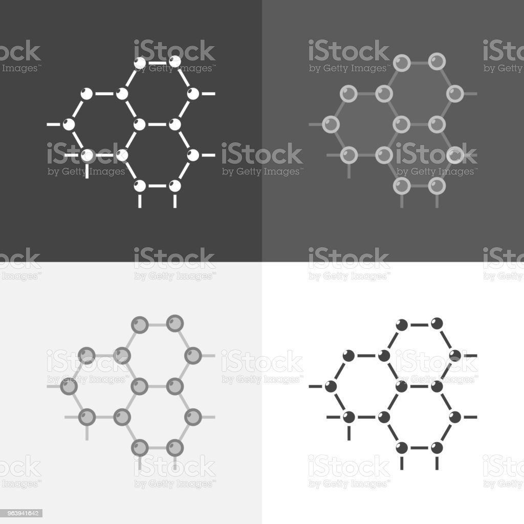 Vecteur défini l'image d'une molécule. Icône de recherche moléculaire, en chimie et en médecine.  Icône Vector noir sur blanc-gris-noir couleur - Illustration vectorielle