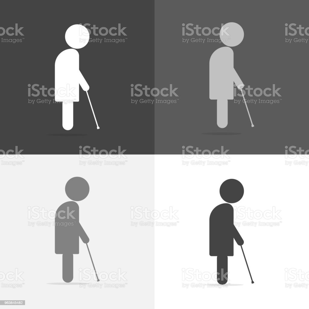 Vector set image of an elderly man. The old man walks with a cane. Vector white icon on white-grey-black color - Royalty-free Adult stock vector
