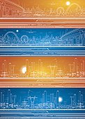 Vector set, industrial and transport panoramic
