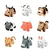 Vector set sf different cartoon isometric animals. Isolated cute animals. Elements of geometric animals for 3d game. Icon collection of farm and home animals. Dog, cat, cow, pig, sheep, horse, goat