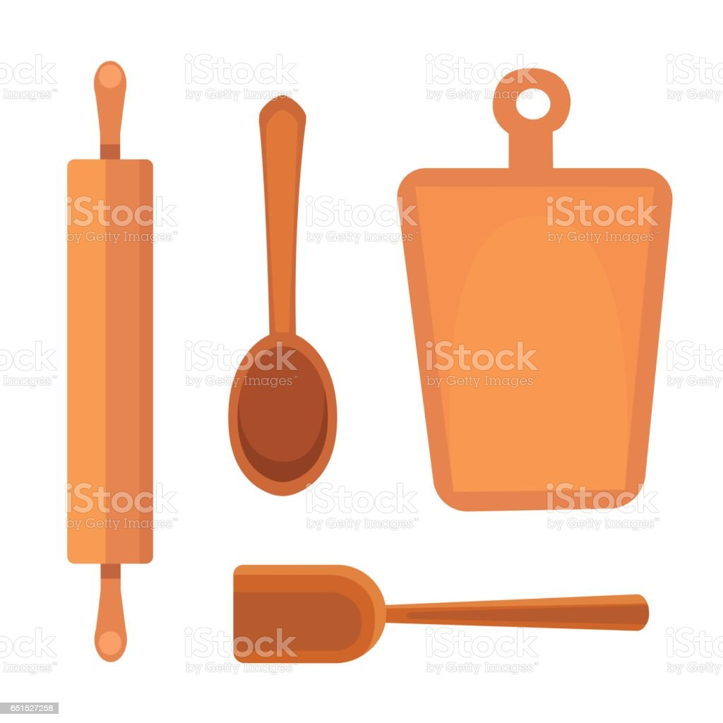 Vector Set Kitchen Utensils. Cooking Tools Flat Style. Cook Equipment  Isolated Objects Royalty