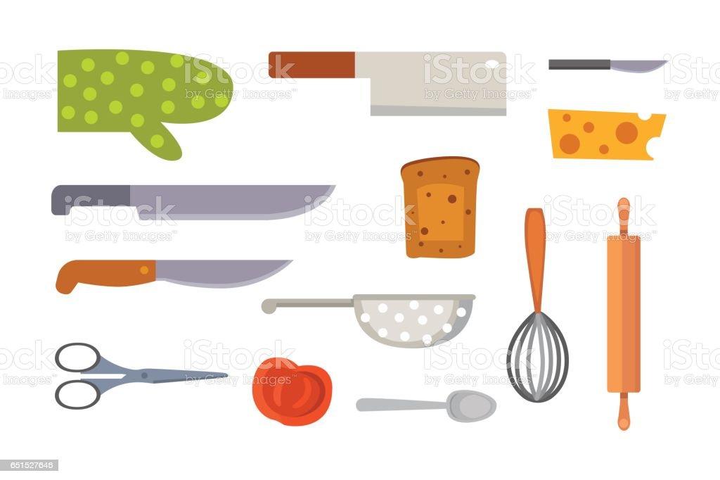 Vector Set Kitchen Utensils Cooking Tools Flat Style Cook
