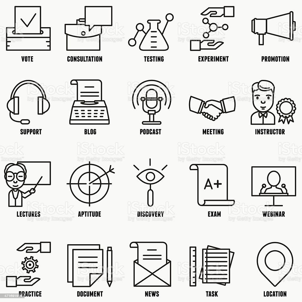 Vector set linear business education icons - part 2 vector art illustration