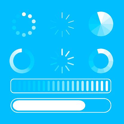Vector Set Loading Process Few Kind Process Of Loading Or Download Blue Background White Lines Circle Flat Design Eps 10 - Stockowe grafiki wektorowe i więcej obrazów Aplikacja mobilna