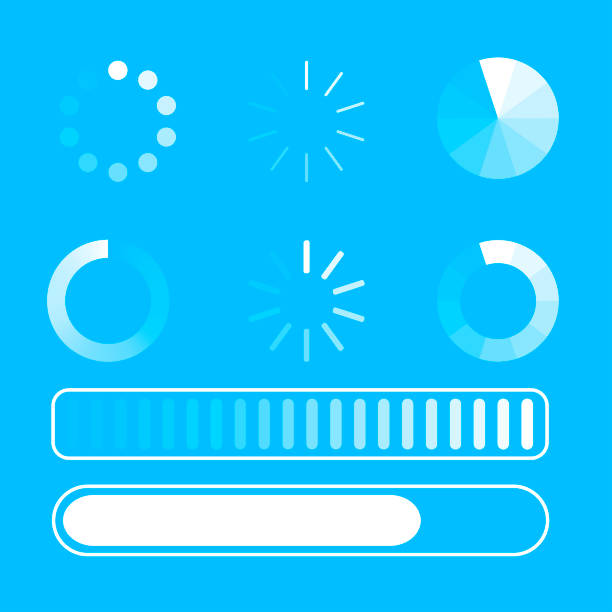 Vector set loading process. Few kind process of loading or download. Blue background. White lines. Circle. Flat design. EPS 10. Vector set loading process. Few kind process of loading or download. Blue background. White lines. Circle. Flat design. EPS 10. meter instrument of measurement stock illustrations