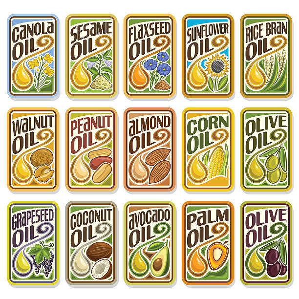 Vector set logo Cooking and Frying Oil vector art illustration