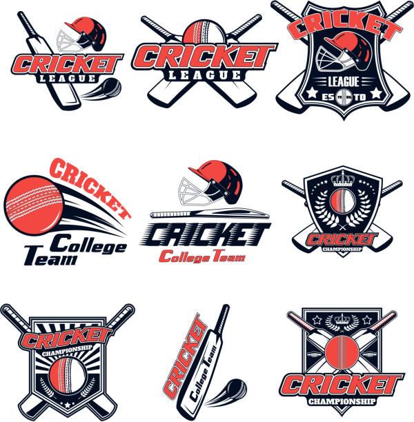 ilustraciones, imágenes clip art, dibujos animados e iconos de stock de vector set logo para cricket juego de diseño, publicidad, impresión web aislado sobre fondo blanco - críquet