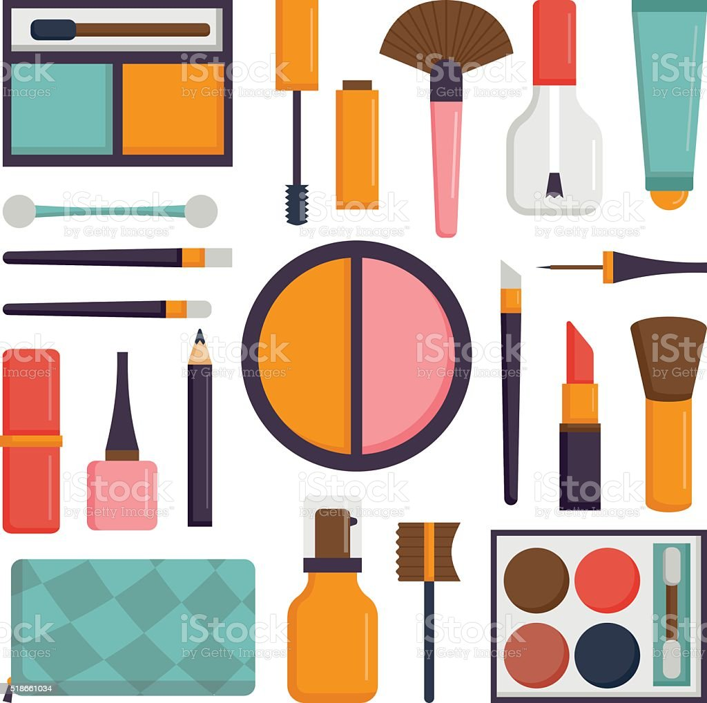Vector set make up brushes and beauty fashion cosmetic icon vector art illustration