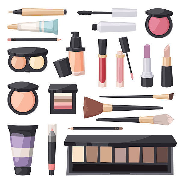 vector set make up brushes and beauty fashion cosmetic icon - make up stock illustrations
