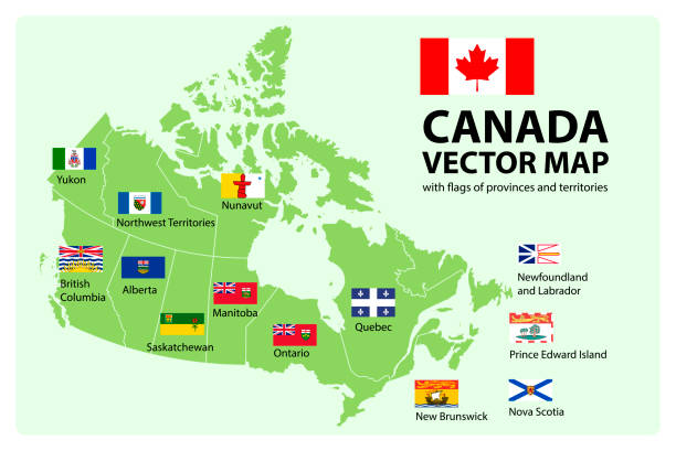 Vector set. Map of Canada with provinces and territories flags. Vector set. Map of Canada with provinces and territories borders and vector flags. alberta stock illustrations