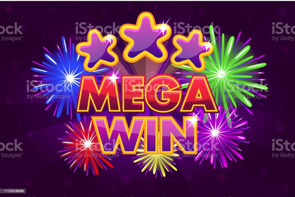Vector Set MEGA gran victoria la bandera para los juegos de lotería o el casino. Disparar estrellas colores - ilustración de arte vectorial