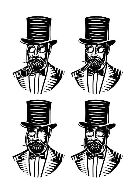vector set monochromatic gentlemen with different accessories - old man face silhouettes stock illustrations, clip art, cartoons, & icons