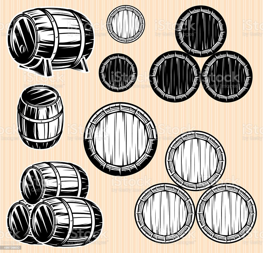 vector set monochromatic patterns with barrels for beverages vector art illustration